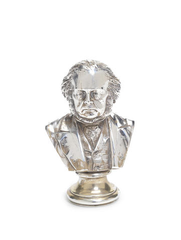 A Victorian silver portrait bust of William Ewert Gladstone by Frederick Elkington,  Birmingham 1889, Registration number 130568