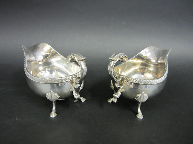 A pair of silver sauce boats  by Roberts and Belk, Sheffield 1972
