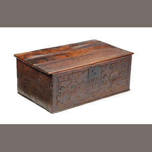 An oak chest/bible box with hinged top