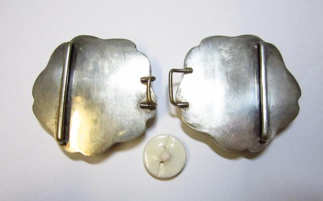 A Satsuma belt buckle and buttons 20th century
