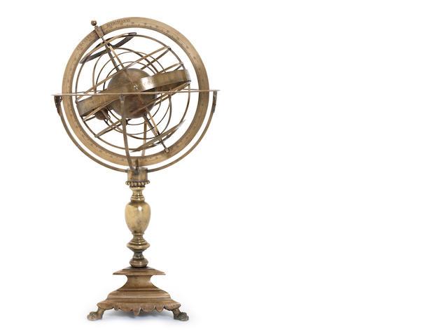 An Italian 17th century style brass armillary sphere,