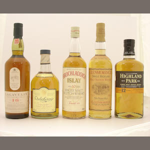 Lagavulin-16 year old.  Dalwhinnie-15 year old.  Bruichladdich-10 year old.  Glenmorangie-10 year old.  Highland Park-12 year old