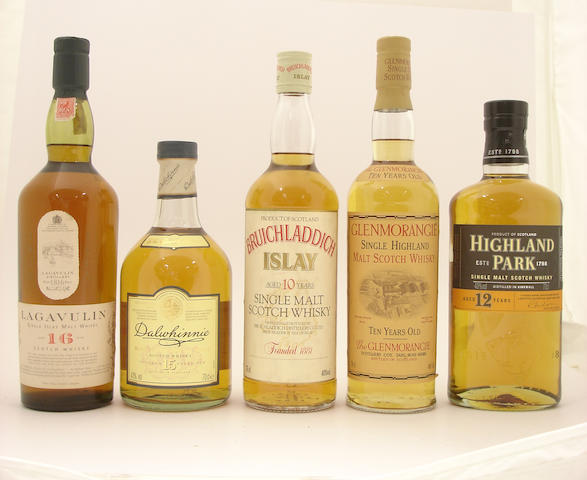 Lagavulin-16 year old<BR /> Dalwhinnie-15 year old<BR /> Bruichladdich-10 year old<BR /> Glenmorangie-10 year old<BR /> Highland Park-12 year old