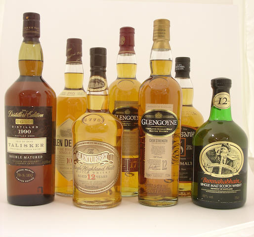 Talisker-1990  Glen Deveron-10 year old-1993  The Glenturret-12 year old  Glengoyne-17 year old  Glengoyne-12 year old  Springbank-12 year old  Bunnahabhain-12 year old