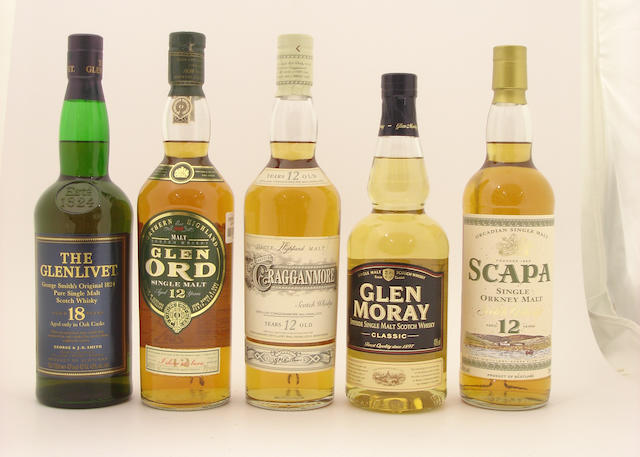 The Glenlivet-18 year old<BR /> Glen Ord-12 year old (2) <BR /> Cragganmore-12 year old<BR /> Glen Moray<BR /> Scapa-12 year old<BR /> 100 Pipers