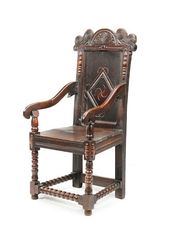 An oak open armchair, Incorporating some late 17th century timbers