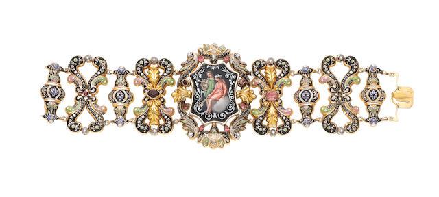 A gold, enamel and gem-set bracelet, (illustrated above)