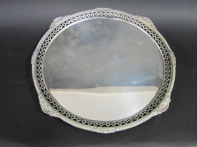 A silver circular salver by Pearce & Sons, London 1916