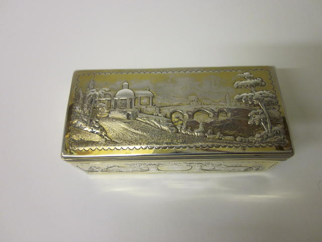 A George III silver-gilt box marks rubbed,  London 1791