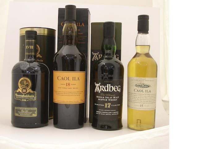Bunnahabhain-18 year old<BR /> Caol Ila-18 year old<BR /> Ardbeg-17 year old<BR /> Caol Ila-15 year old