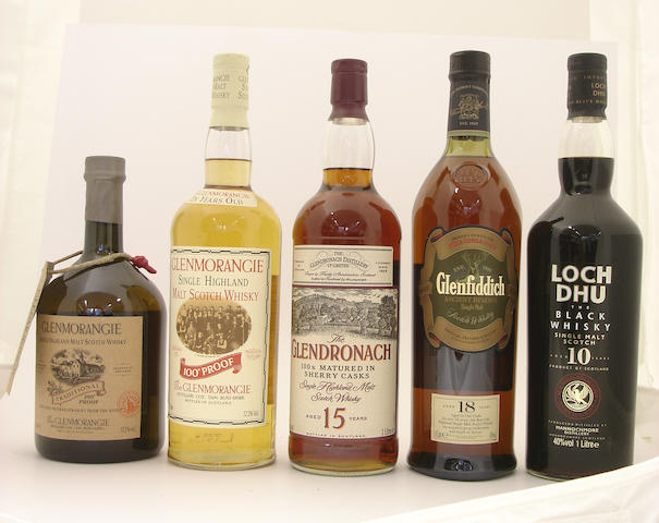 Glenmorangie Traditional<BR /> Glenmorangie-10 year old<BR /> Glendronach-15 year old<BR /> Glenfiddich-18 year old<BR /> Loch Dhu-10 year old