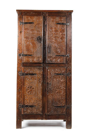 A late 17th century oak cupboard, Spanish