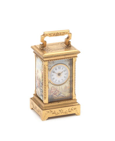 A late 19th century French sub-miniature enamel carriage timepiece