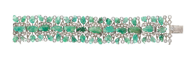 An art deco emerald and white sapphire bracelet, (illustrated above)
