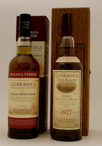 Glenmorangie Malaga Wood Finish-25 year old  Glenmorangie Vintage-1977