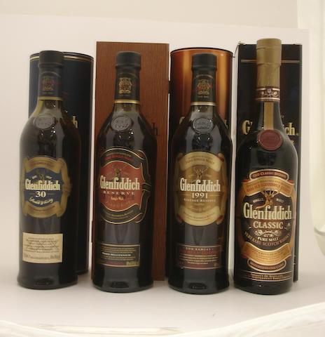 Glenfiddich-30 year old<BR /> Glenfiddich Millennium Reserve-15 year old<BR /> Glenfiddich Vintage Reserve-1991<BR /> Glenfiddich Classic