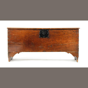 An oak boarded chest, circa 1700