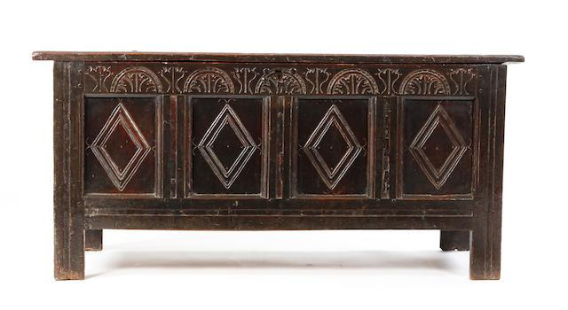 A Charles I oak coffer