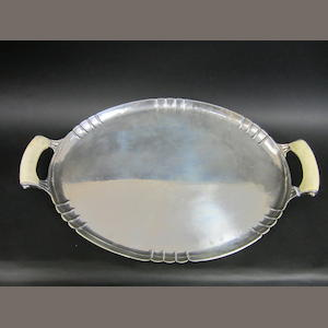 An Art Deco silver ivory handled oval silver tray by Edward Barnard & Sons, London 1939