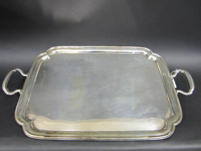 A silver two handled rectangular tray by William Devonport & Co., London 1926
