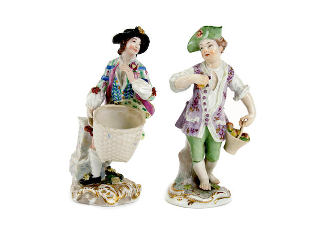 A Meissen figure and a Fürstenberg figure, 18th century