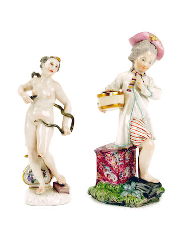 A Fürstenberg figure of Cleopatra and a Höchst figure of a boy, 18th century