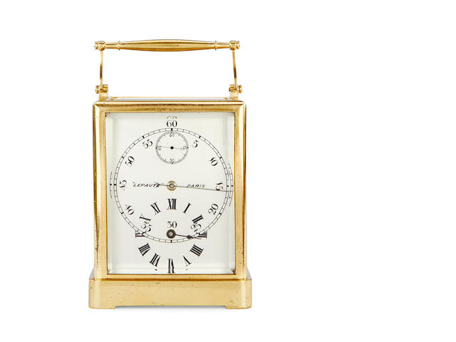 An unusual French one piece carriage clock with regulator dial