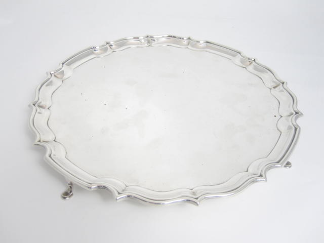 A silver salver by Barker Brothers Silver Ltd., Birmingham 1936, retailed by Drummond Glasgow