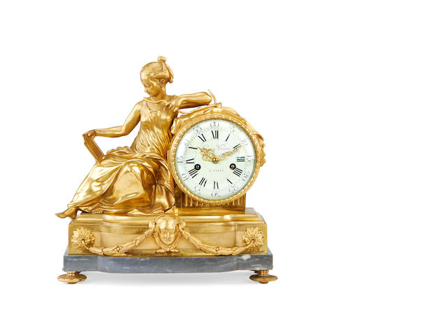 A late 19th century gilt bronze mantel clock