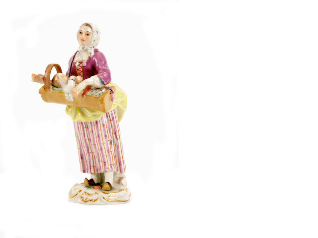 A Meissen figure of a woman, 20th century