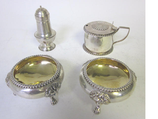 A George II  silver bun pepper pot possibly by William Plummer, London 1755, together with a pair of salts, a cream jug and a mustard pot (5)