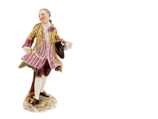 A Meissen figure of the Marquis from the 'Cris de Paris' series, circa 1757-60