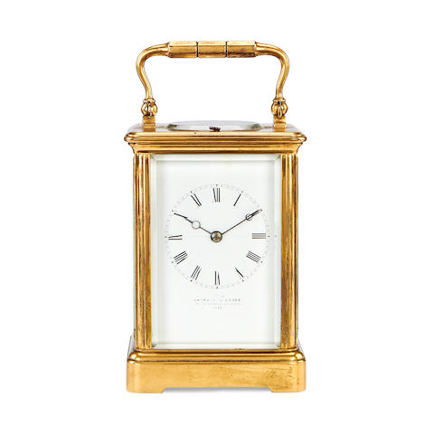 A late 19th century French brass carriage clock retailed by Barraud & Lunds, Cornhill, London