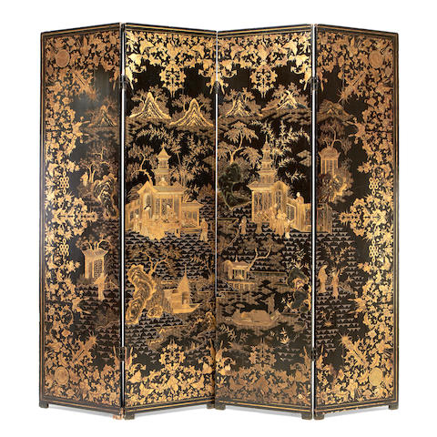 A Chinese export late 19th century black lacquer and gilt decorated four-panel screen