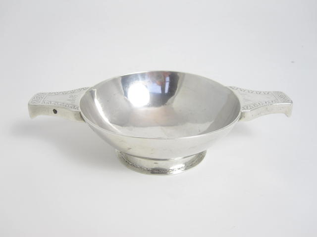 An early 18th century silver quaich by James Mitchellsone of Edinburgh, one mark; IM