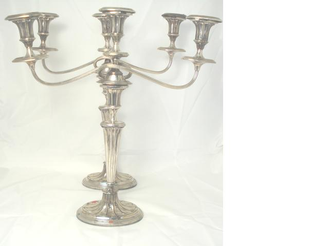Two pairs of electroplated candelabra