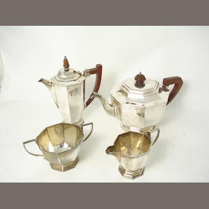 A four piece composite silver tea service by Mappin & Webb, Sheffield 1937/38/39, Birmingham 1938