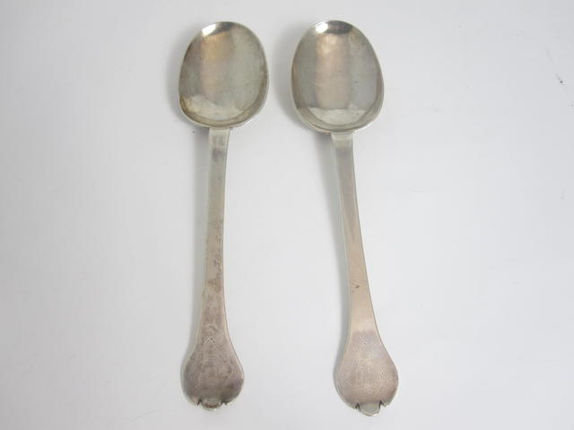 Two late 17th century silver trefid spoons maker's mark TA, possibly by Thomas Allen, date letter lacking