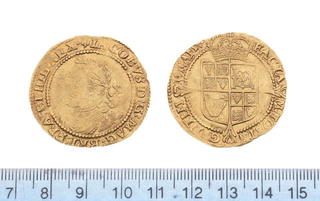 James I, third coinage (1619-25), Laurel, 9.0g, fourth bust, small laureate head left, mark of value behind,