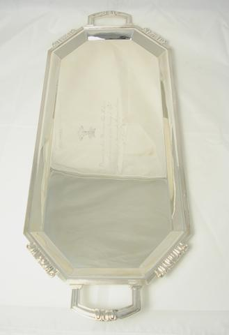 A twin handled silver tray by Walker & Hall, Sheffield 1937