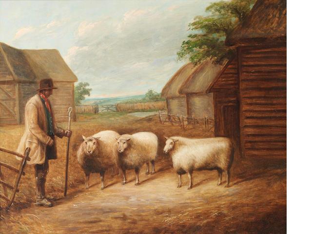 English School, 19th century A famer and three sheep in a farmyard