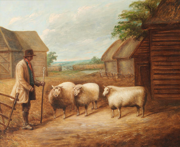 English School, 19th century A famer and three sheep in a farmyard