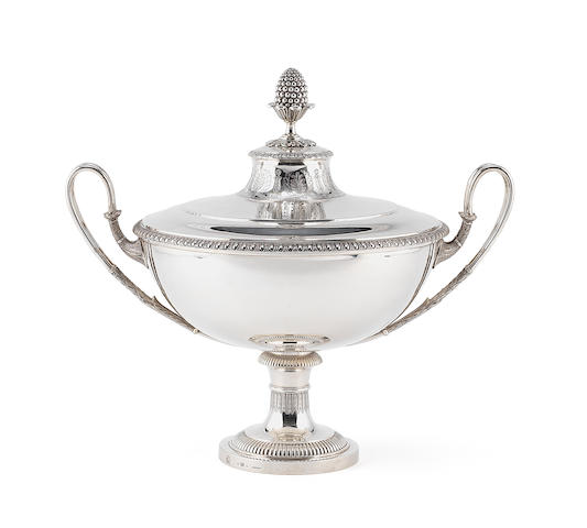 An early 19th century Swedish Empire style silver two-handled soup tureen and cover, by Adolf Zethelius, Stockholm 1820,