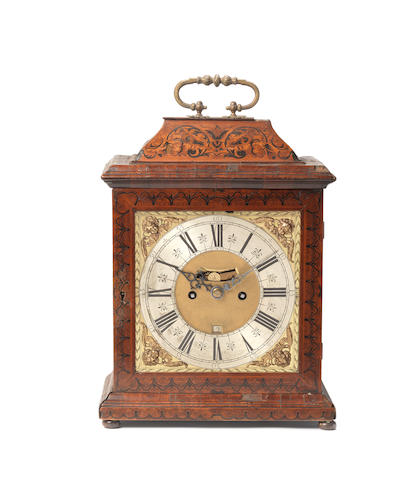 A rare late 17th/early 18th century seaweed marquetry inlaid table clock Claude Du Chesne, London