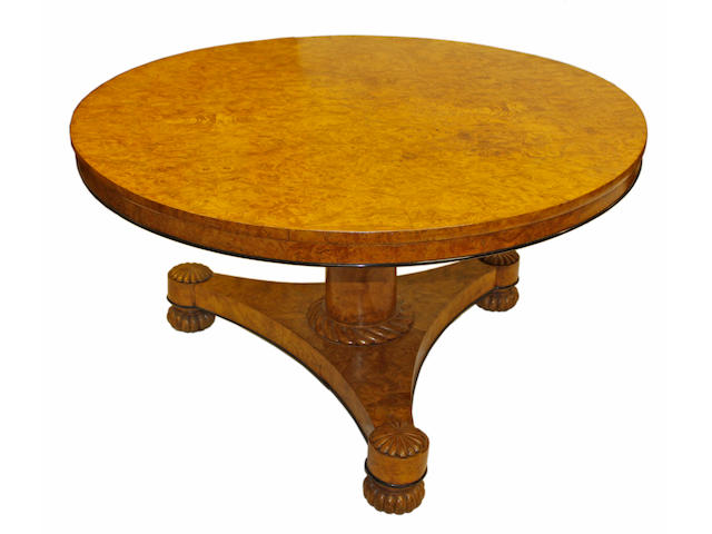 A George IV burr elm breakfast or centre table
