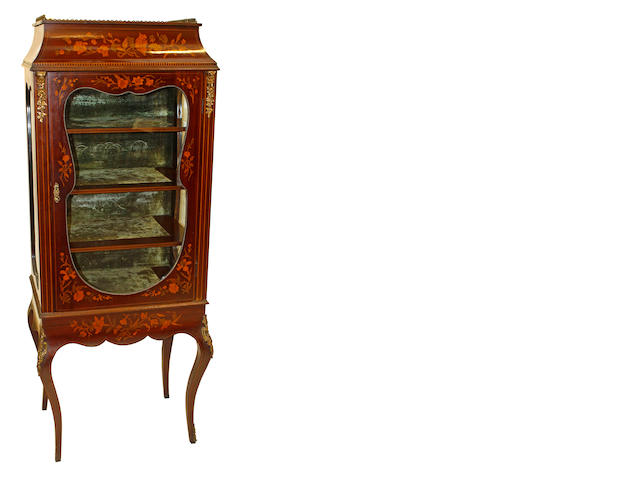 A late 19th century inlaid mahogany vitrine