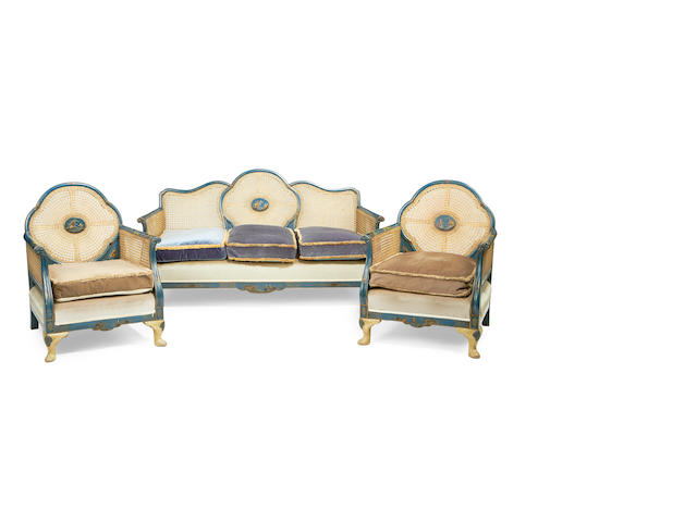 A three piece suite of early 20th century blue and polychrome japanned caned drawing room furniture