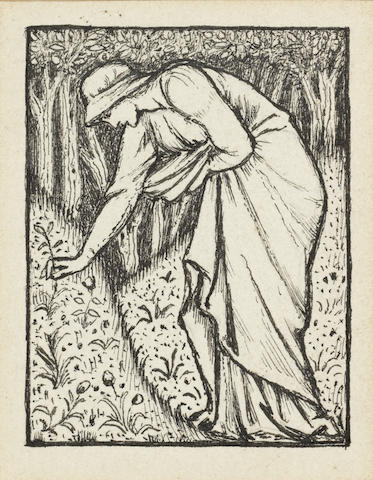 Sir Edward Coley Burne-Jones, Bt. ARA, RWS (British, 1833-1898) Illustration for the frontispiece to 'Select Epigrams' from 'The Greek Anthology' by J.W. Mackail