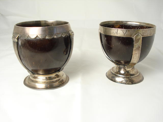 Two silver mounted coconut cups unmarked