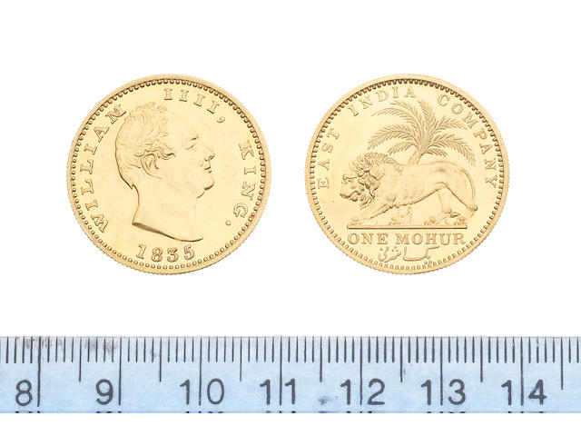 India, Gold Mohur, 1835, restrike, head of William IV right date below,